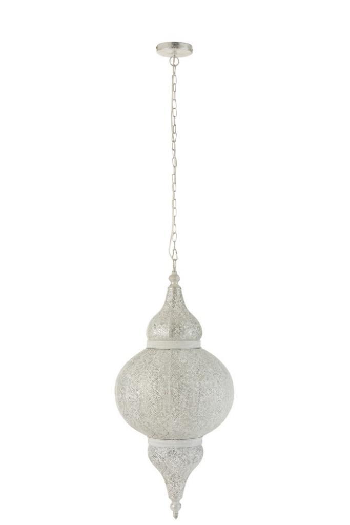 Produktové foto J-Line by Jolipa Bílé kovové závěsné světlo/lustr Oriental drop - Ø 40*88 cm