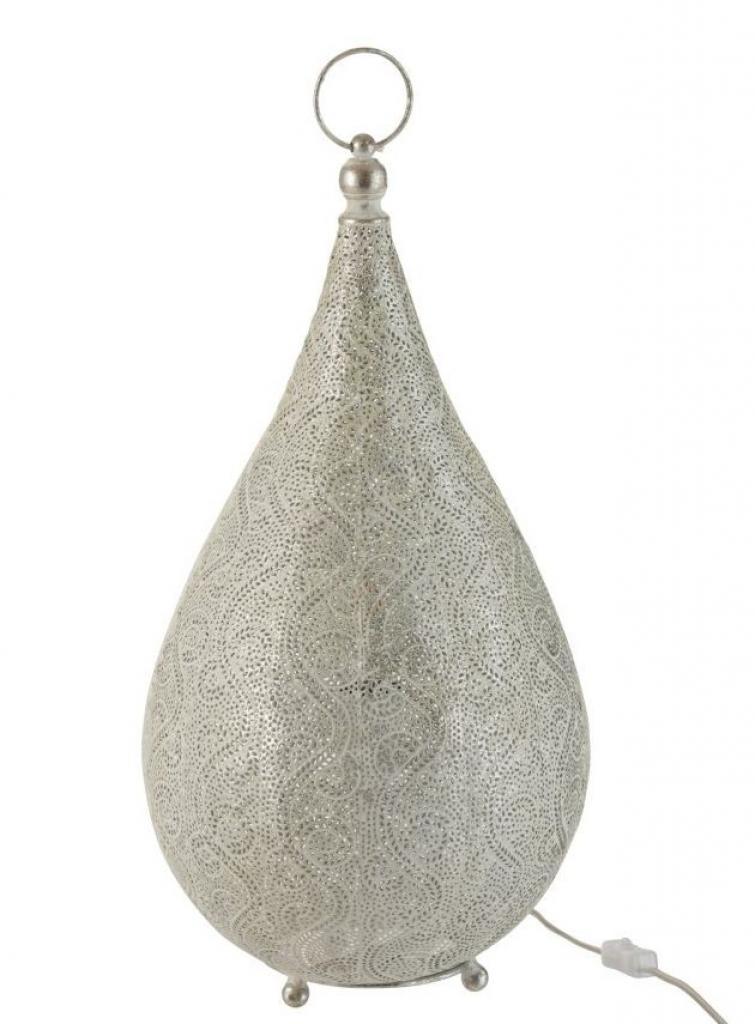Produktové foto J-Line by Jolipa Bílá kovová stolní lampička Oriental drop- Ø 31*60 cm
