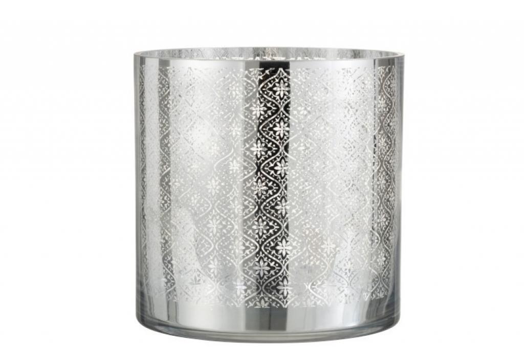 Produktové foto J-Line by Jolipa Skleněný svícen se stříbrným ornamentem Oriental silver - Ø 24*24cm