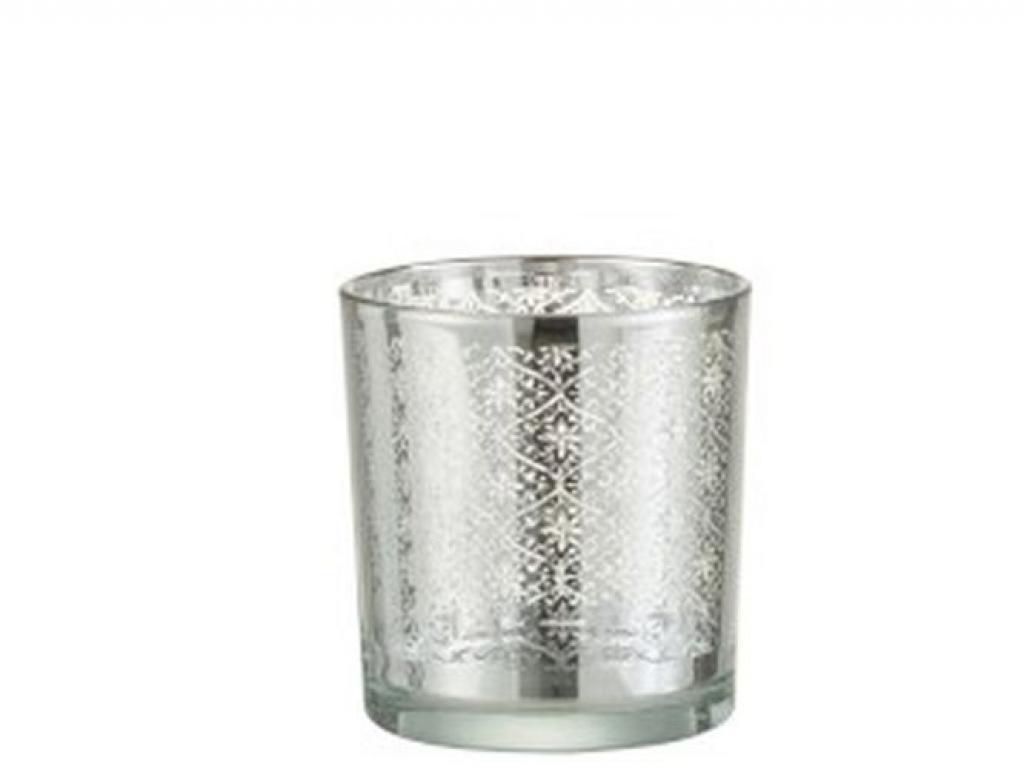 Produktové foto J-Line by Jolipa Skleněný svícen se stříbrným ornamentem Oriental silver - Ø 7*8cm