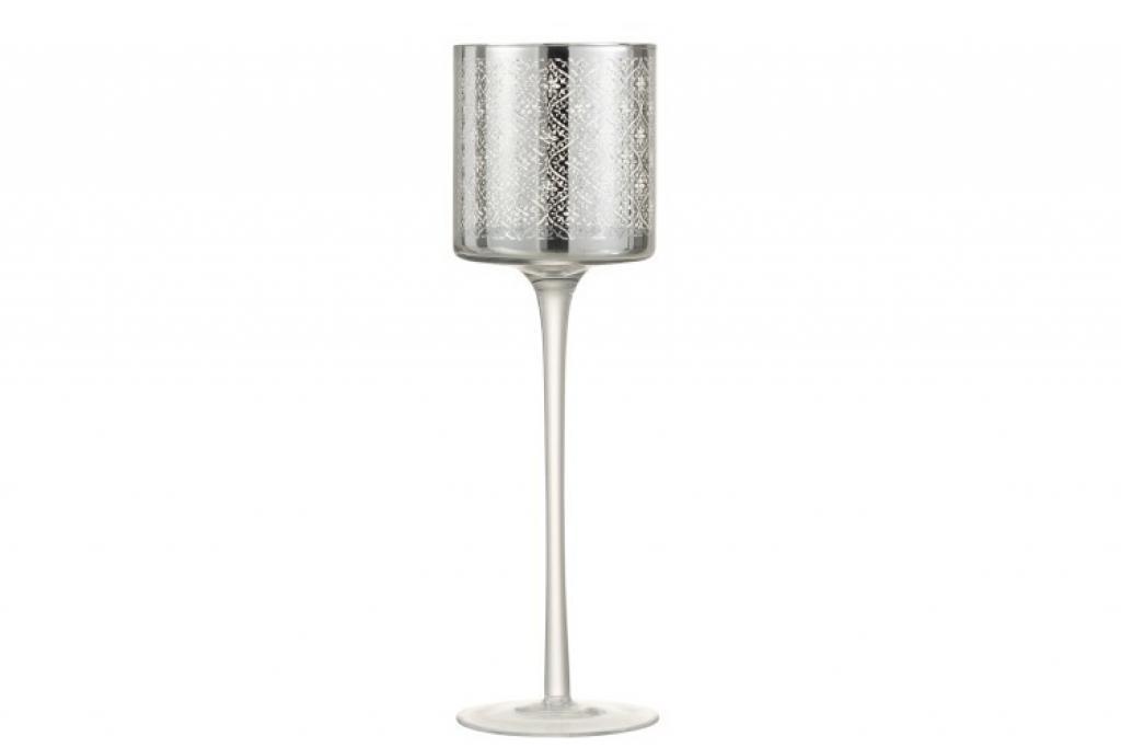 Produktové foto J-Line by Jolipa Skleněný svícen na noze Oriental silver - Ø 10*31cm