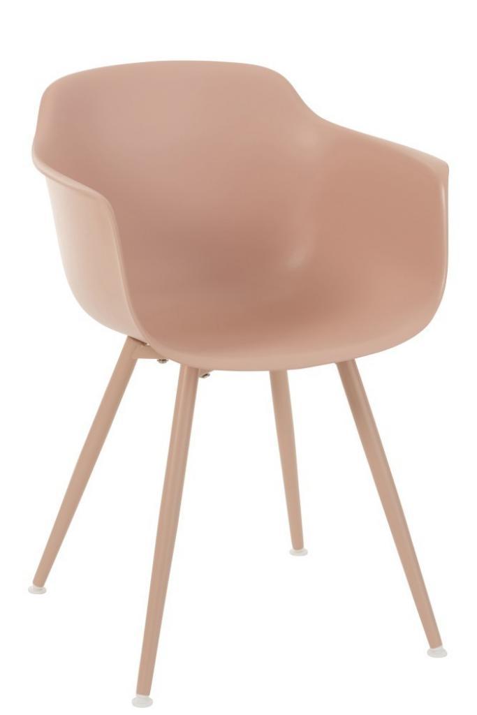 Produktové foto J-Line by Jolipa Růžová plastová židle Swing - 54*57*80 cm