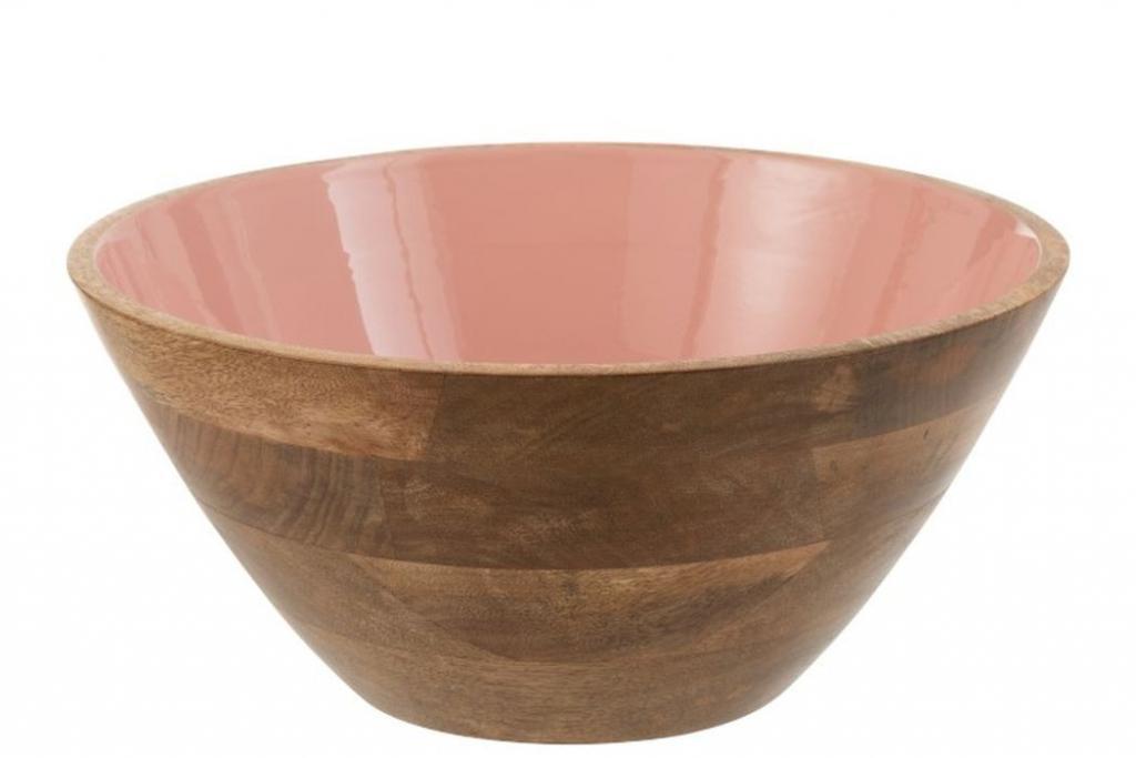 Produktové foto J-Line by Jolipa Dřevěná miska s růžovým vnitřkem Enamell large - ∅ 30*12,5cm