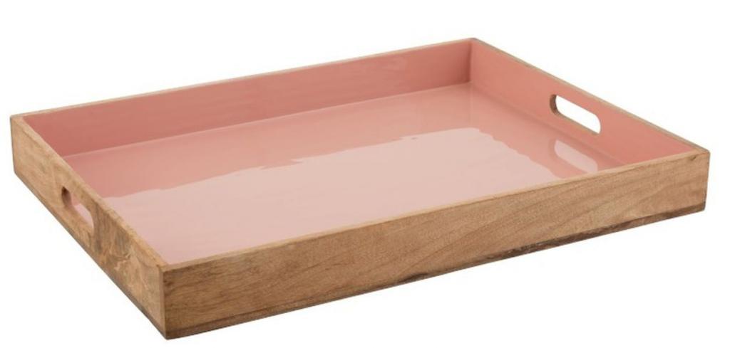 Produktové foto J-Line by Jolipa Dřevěný podnos s růžovým vnitřkem Enamell pink - 66*50*8cm