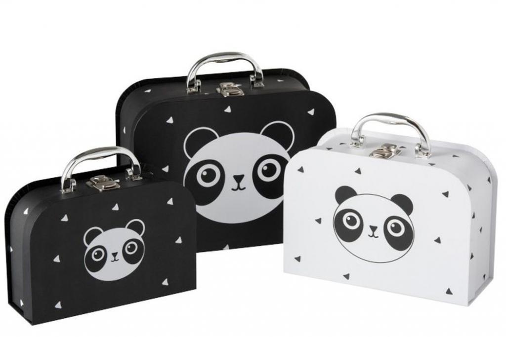 Produktové foto J-Line by Jolipa Sada 3papírových kufříků Panda  - 25*20*10cm