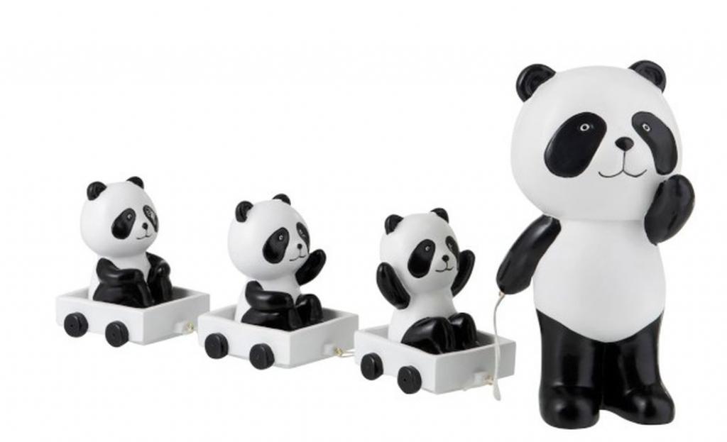 Produktové foto J-Line by Jolipa Dekorace Panda s mláďaty na vozíčku - 43*10*20cm