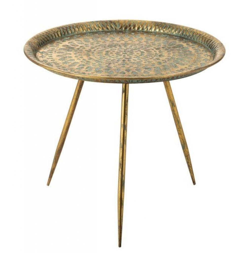 Produktové foto J-Line by Jolipa Zlatý kovový kulatý stolek Oriental gold s modrou patinou - Ø 67*60cm