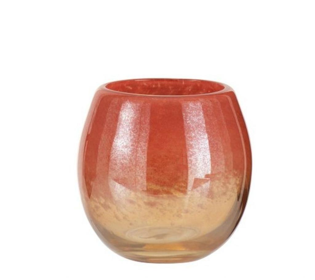Produktové foto J-Line by Jolipa Oranžová skleněná váza /svícen Oriental orange - Ø 14*14cm