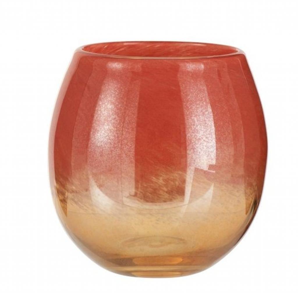 Produktové foto J-Line by Jolipa Oranžová skleněná váza /svícen Oriental orange - Ø 20*18cm
