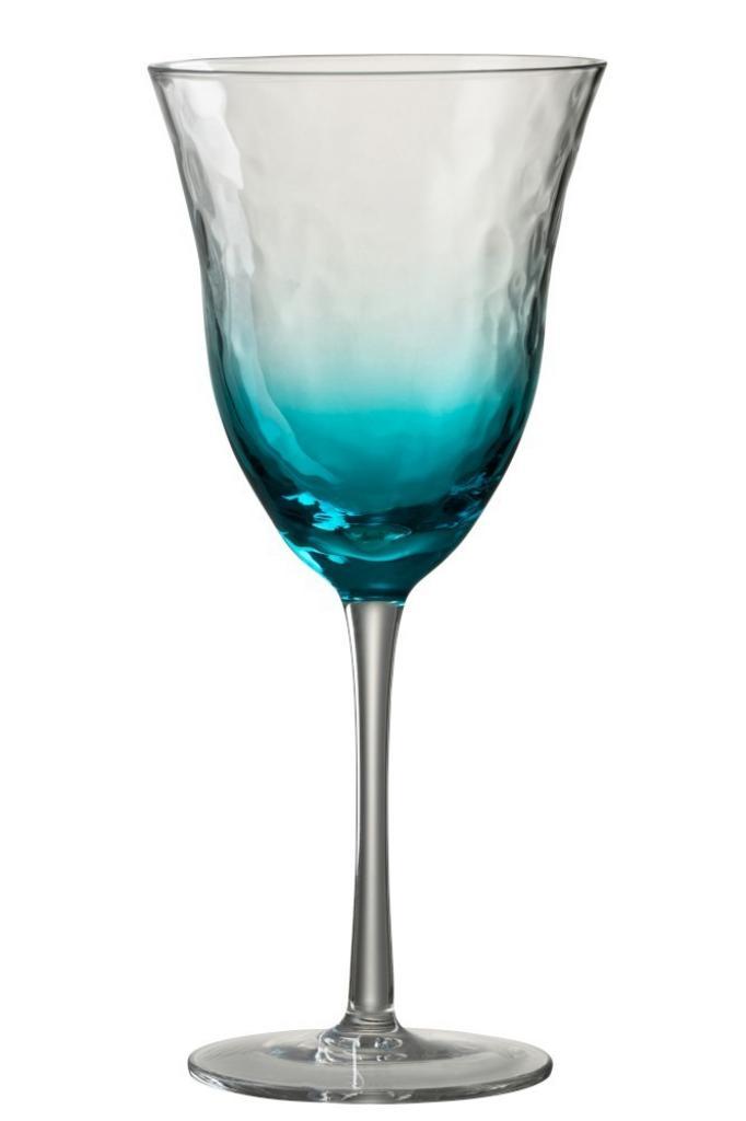 Produktové foto J-Line by Jolipa Modrá sklenička na víno Verma - Ø 10*22 cm
