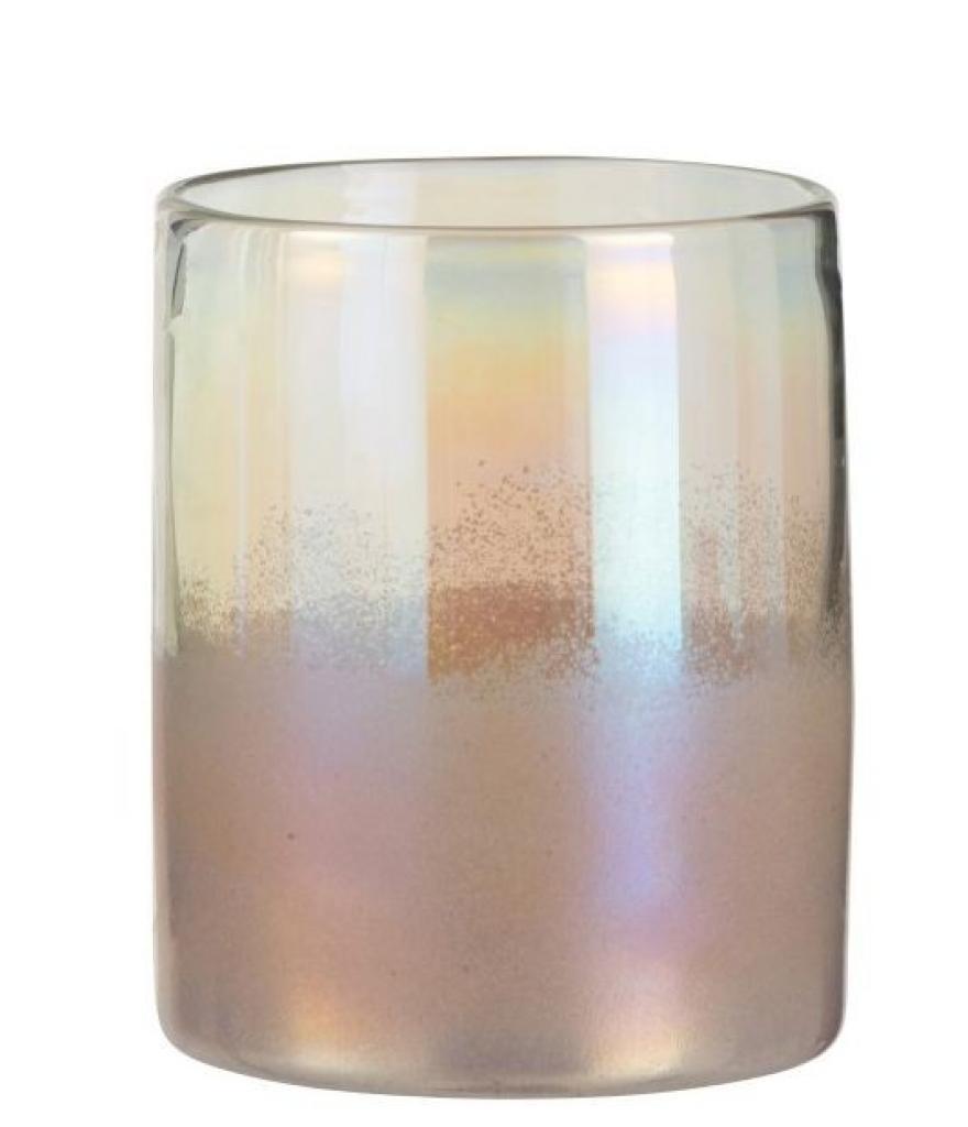 Produktové foto J-Line by Jolipa Růžová skleněná perleťová váza Pearl pink - Ø 17*21cm