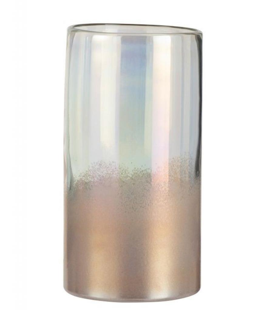 Produktové foto J-Line by Jolipa Růžová perleťová skleněná váza Pearl pink - Ø 14*26cm