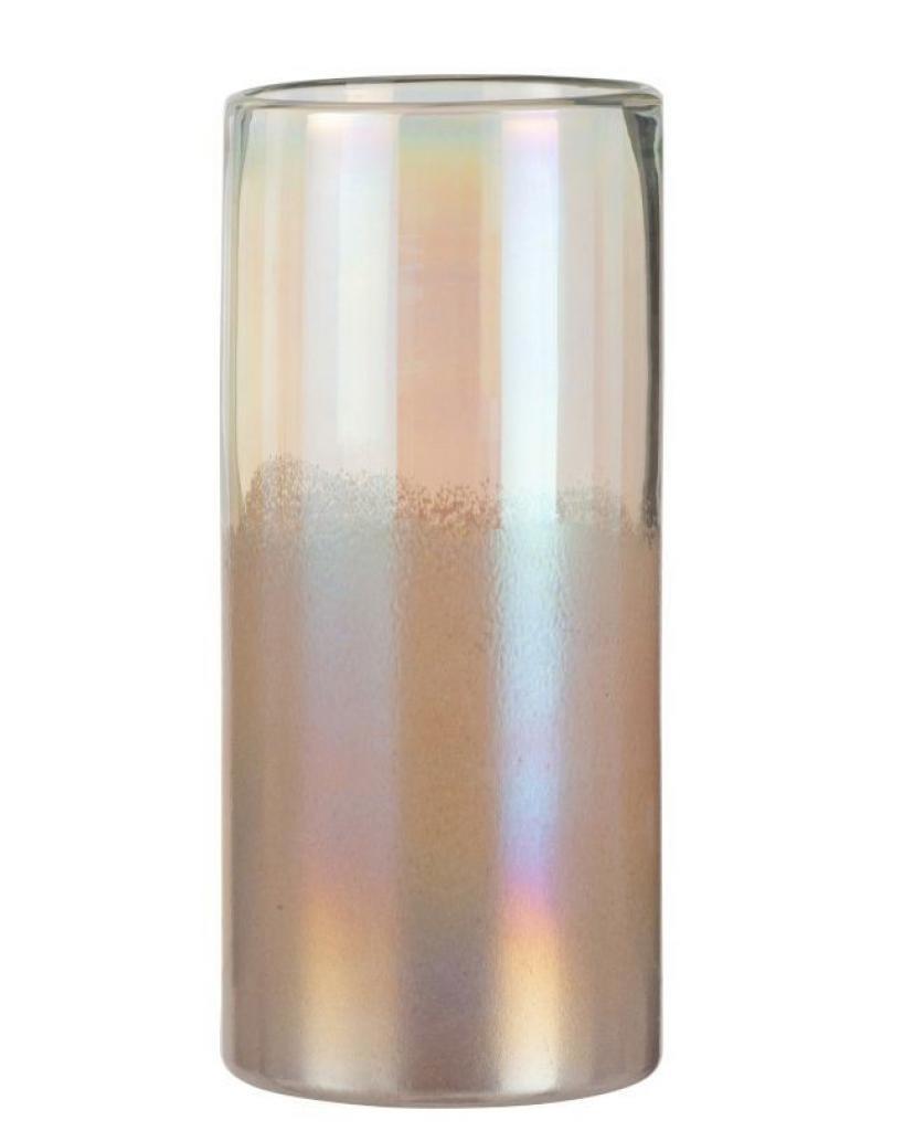 Produktové foto J-Line by Jolipa Růžová perleťová skleněná váza Pearl pink - Ø 14*31cm
