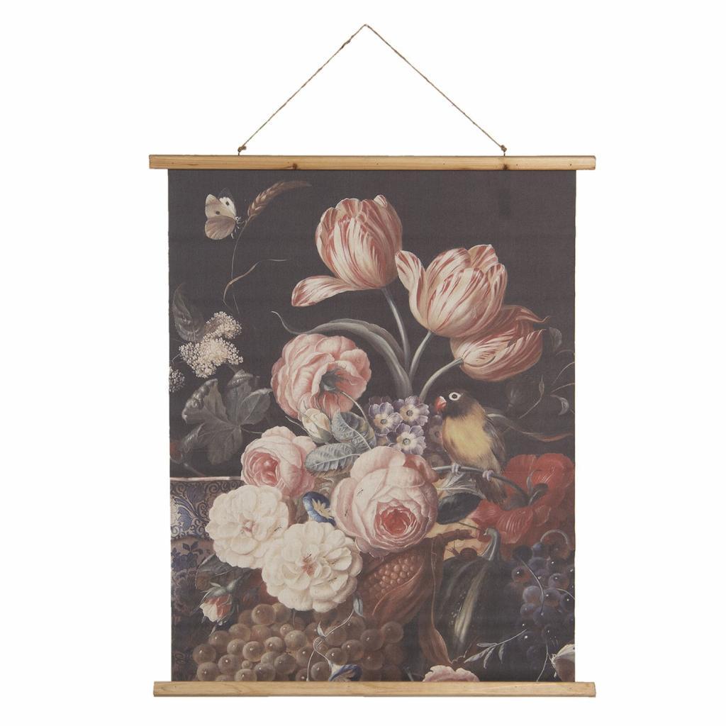 Produktové foto Nástěnný plakát s malbou květin, ovoce a zvěře - 80*2*100 cm