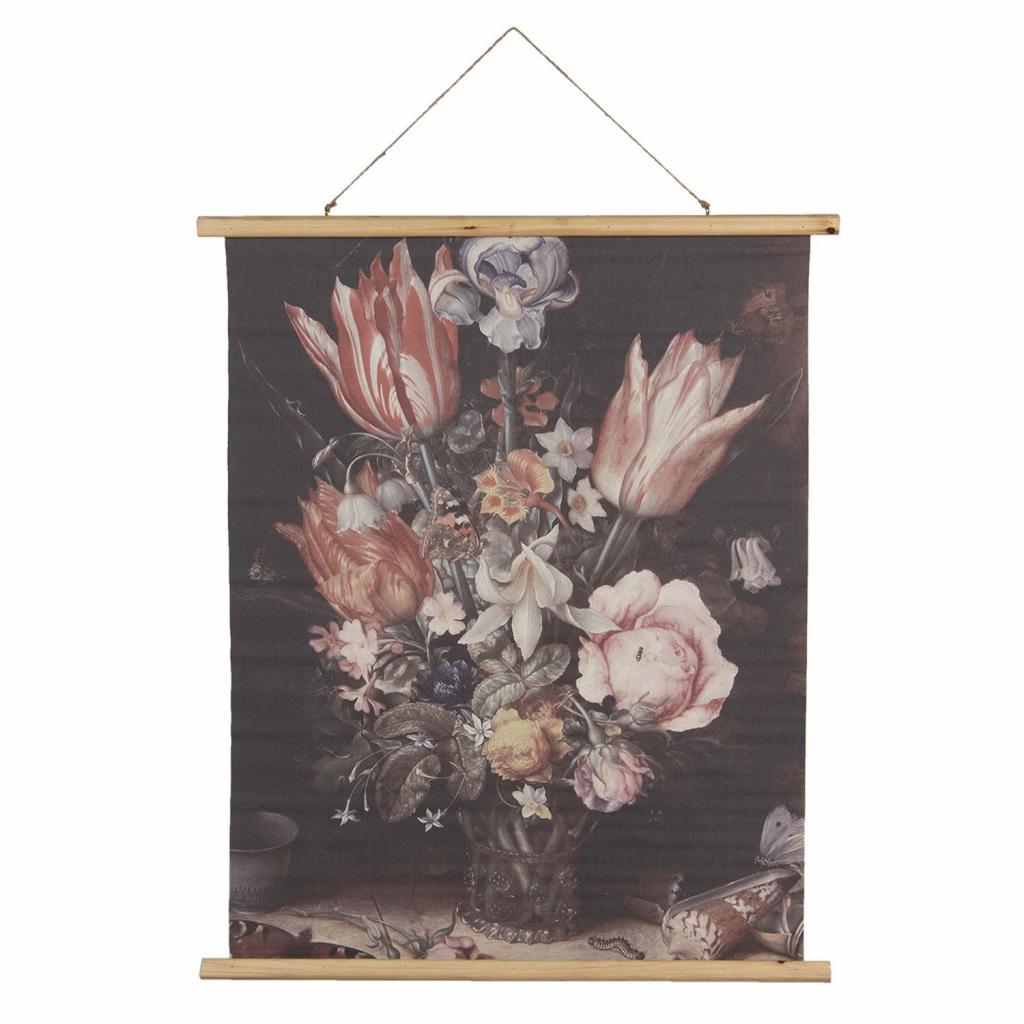 Produktové foto Závěsný plakát s malbou zátiší tulipánů a pivoněk - 80*2*100 cm