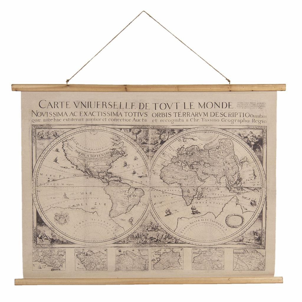 Produktové foto Nástěnná mapa světa obě polokoule s latinským popisem - 100*2*75 cm
