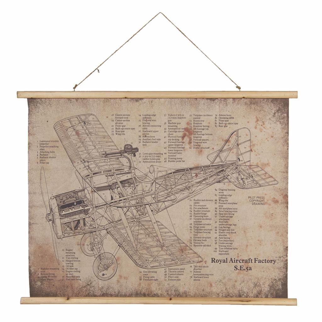 Produktové foto Nástěnná mapa britského jednomístného dvouplošného letounu - 100*2*75 cm