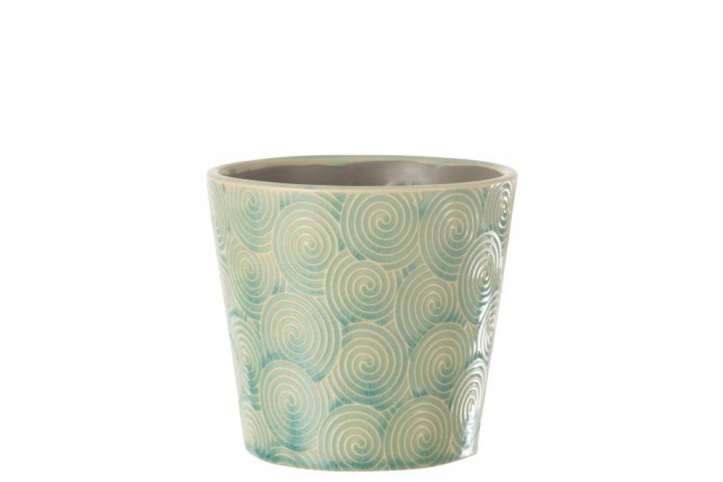 Produktové foto Tyrkysový vzorovaný obal na květináč Spiral M - Ø15*14 cm