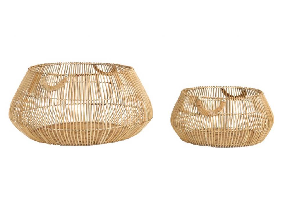 Produktové foto 2ks přírodní ratanové koše Patan  - Ø 50*22 cm / Ø 70*32 cm