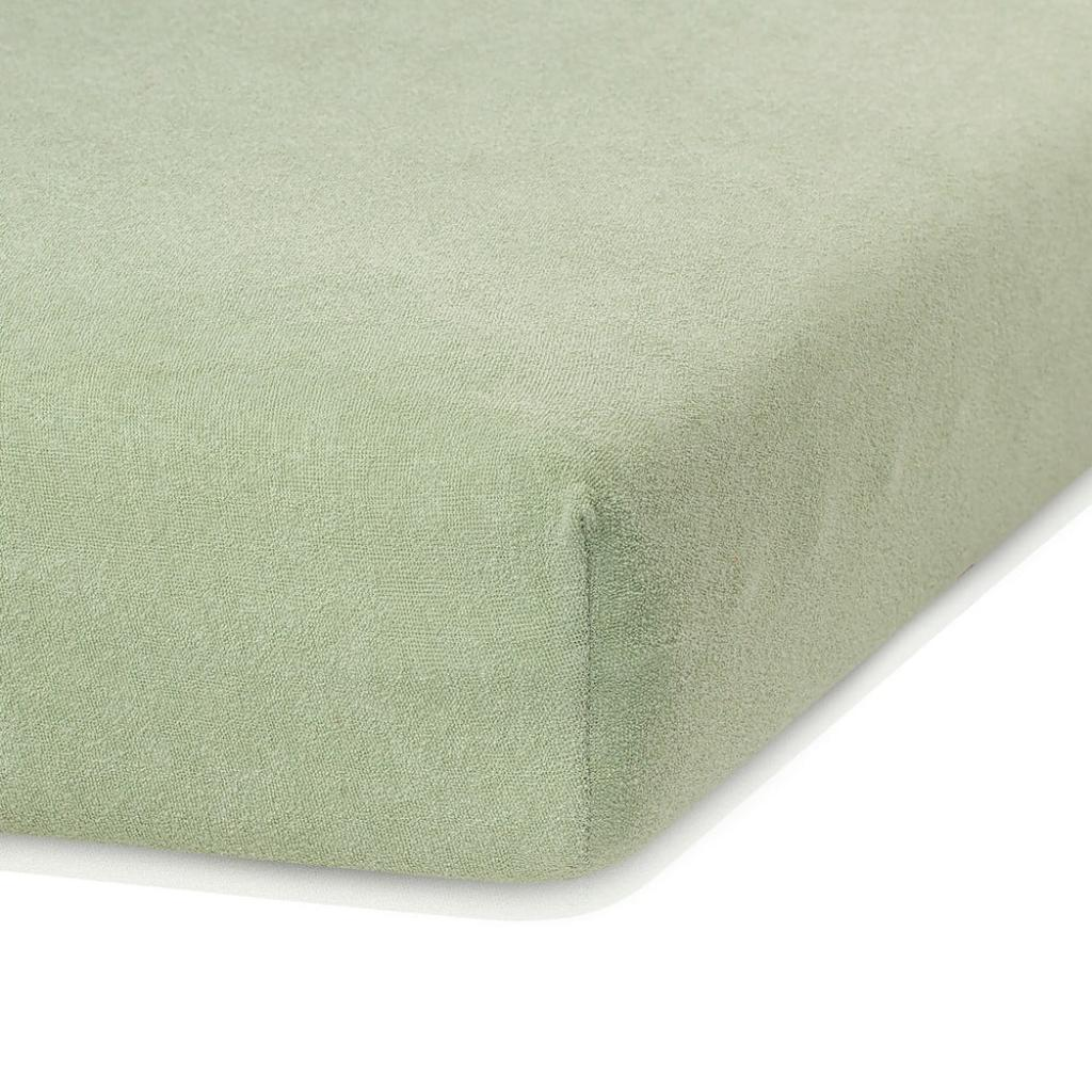 Produktové foto Olivově zelené elastické prostěradlo s vysokým podílem bavlny AmeliaHome Ruby, 160/180 x 200 cm