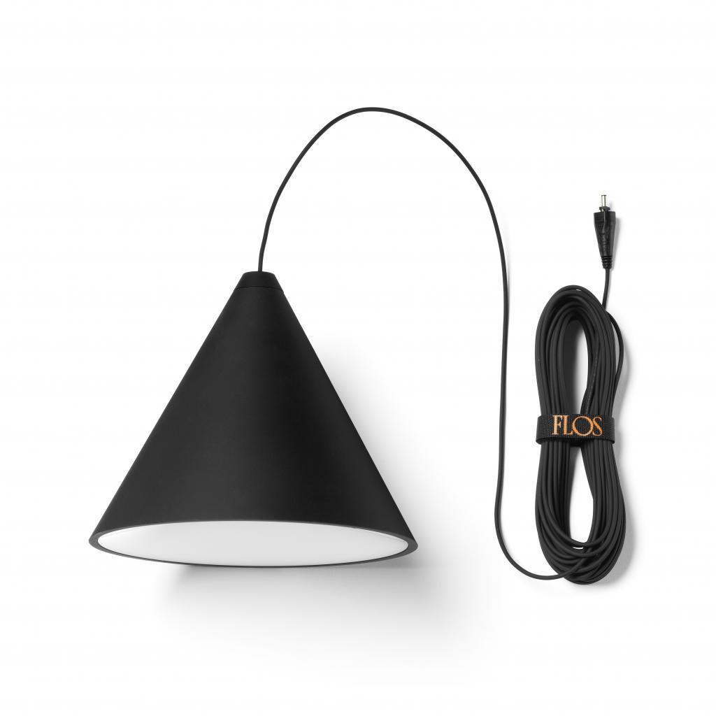 Produktové foto Flos F6491030 String Light Cone head, svítidlo s 22m dlouhým kabelem, 26W LED 2700K, dotykové ovládání + bluetooth, prům. 19cm