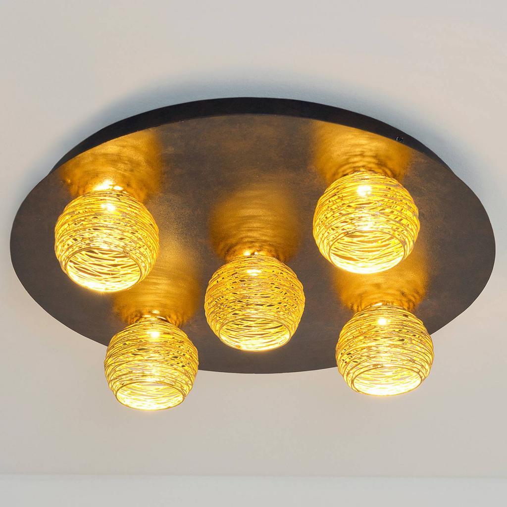 Produktové foto J. Holländer Stropní světlo Carillon se zlatými stínidly