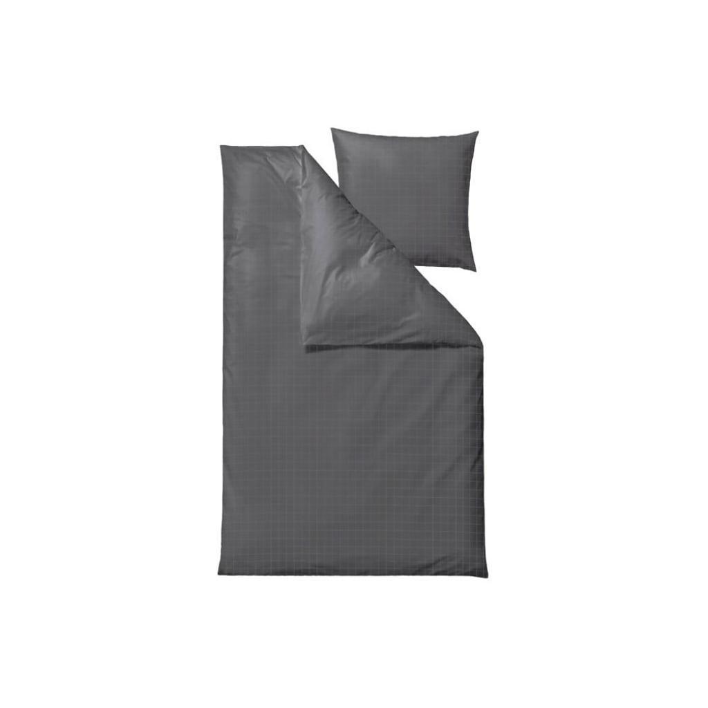 Produktové foto Tmavě šedé damaškové povlečení na jednolůžko Södahl Squares,150x 210cm