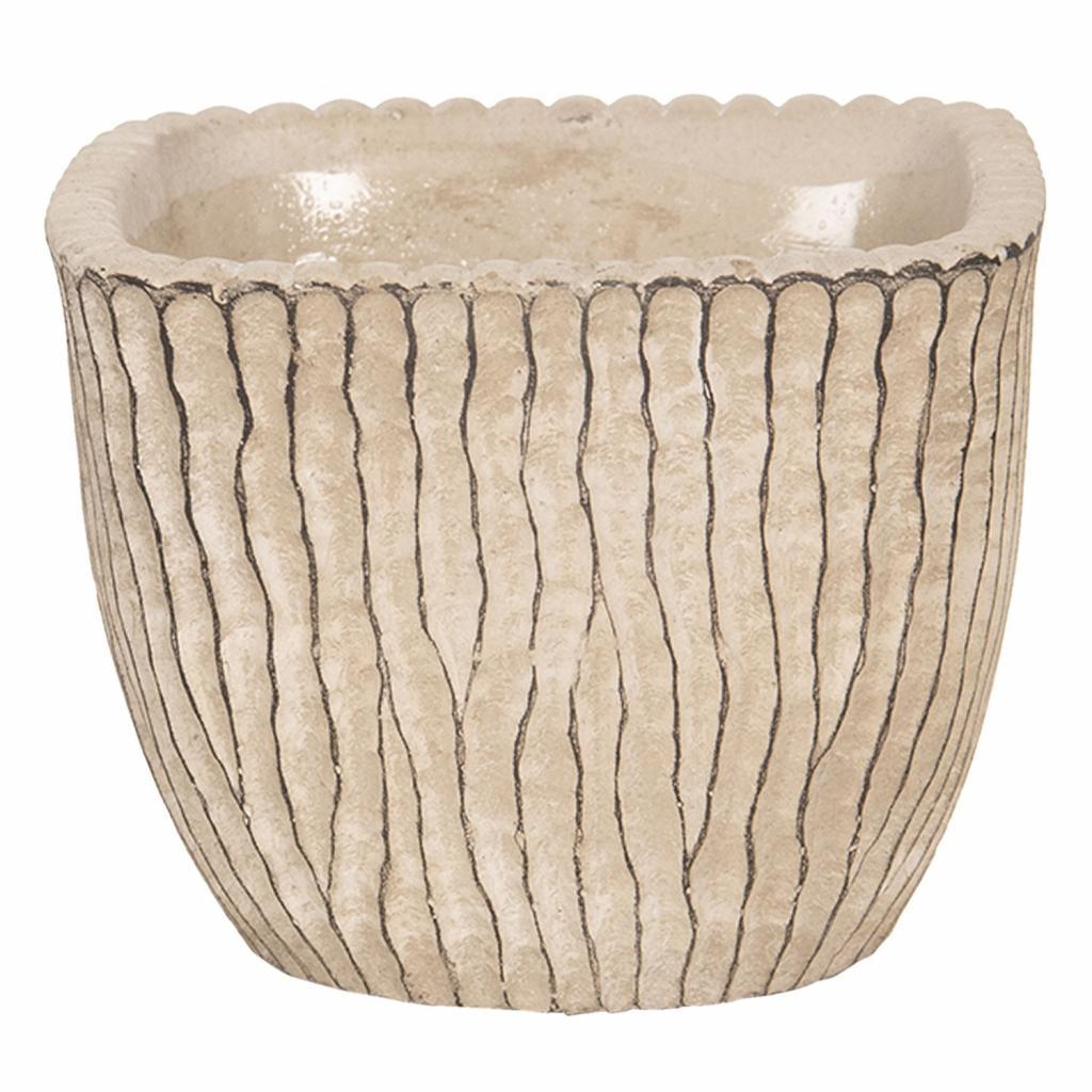 Produktové foto Clayre & Eef Béžový betonový obal na květináč s hnědými linkami - 13*13*11 cm