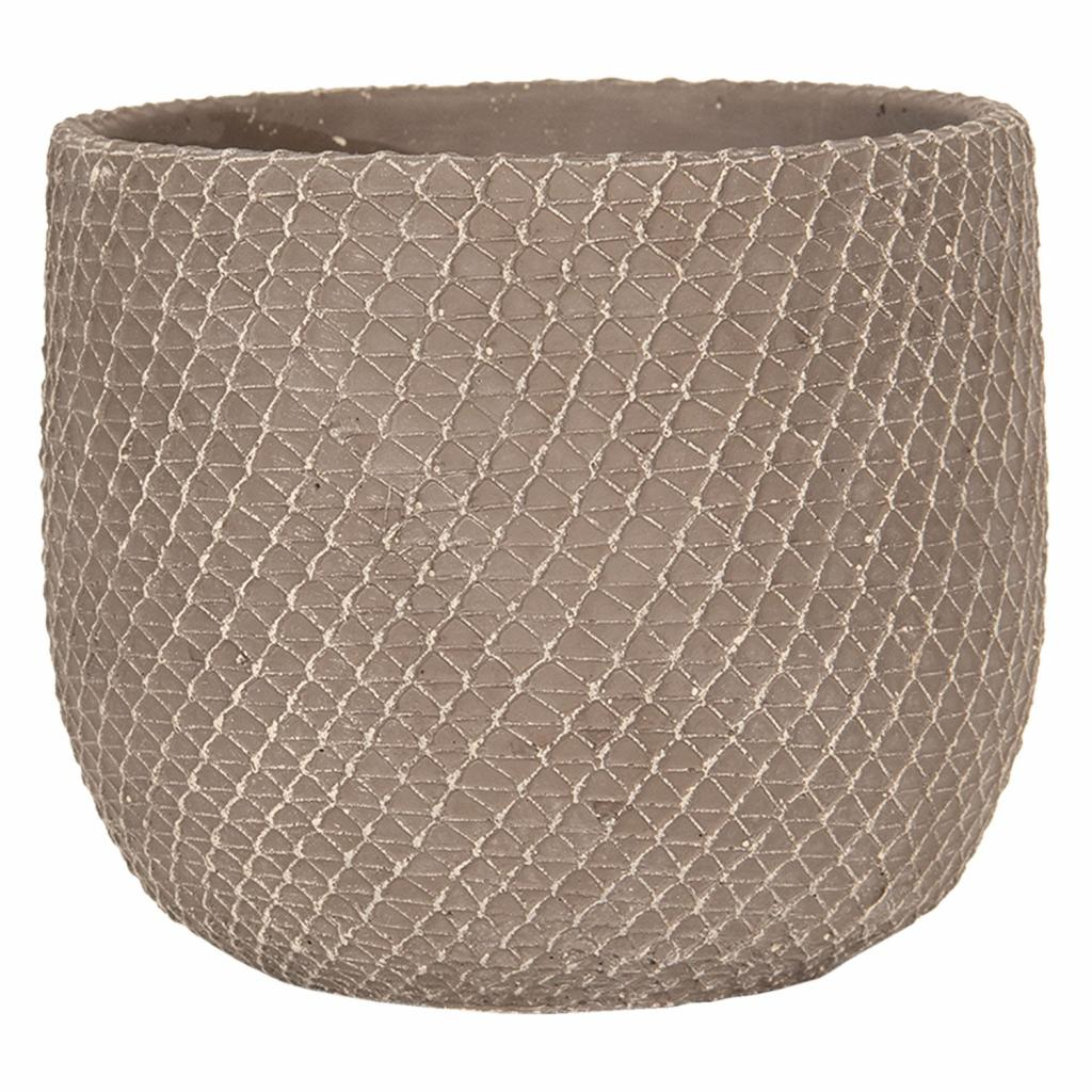 Produktové foto Clayre & Eef Šedý betonový květináč se vzorem - Ø 18*15 cm