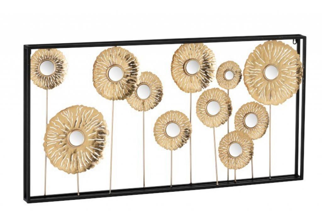 Produktové foto J-Line by Jolipa Nástěnná kovová zlatá dekorace Gold flowers - 100*5,5*51 cm