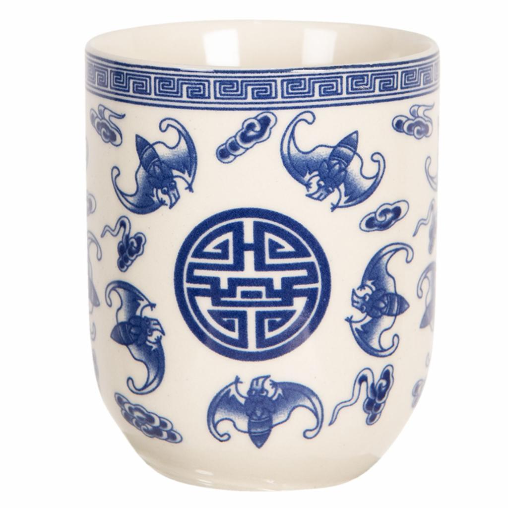 Produktové foto Clayre & Eef Porcelánový kalíšek na čaj s modrými ornamenty  - ∅ 6*8 cm / 0,1L