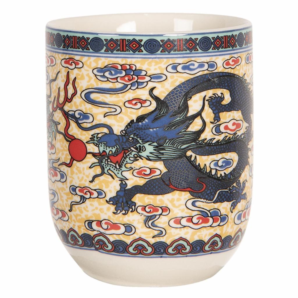 Produktové foto Clayre & Eef Porcelánový kalíšek na čaj s drakem - ∅ 6*8 cm / 0,1L