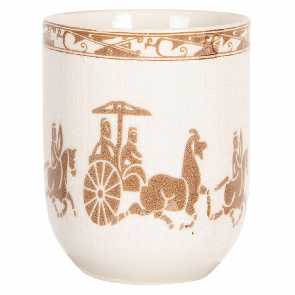 Produktové foto Clayre & Eef Porcelánový kalíšek na čaj s antickými motivy - ∅ 6*8 cm / 0,1L