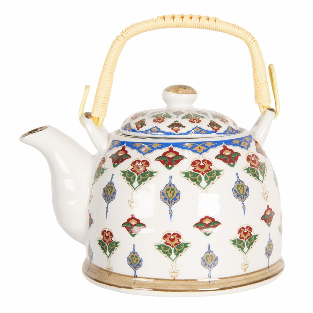 Produktové foto Clayre & Eef Konvice na čaj s květinovými ornamenty - 18*14*12 cm / 0,8L