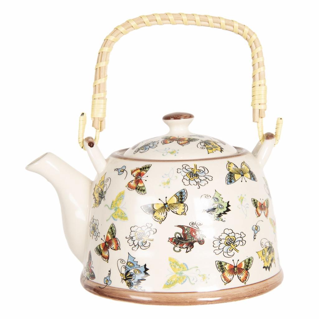 Produktové foto Clayre & Eef Porcelánová konvice na čaj s motýlky - 18*14*12 cm / 0,8L