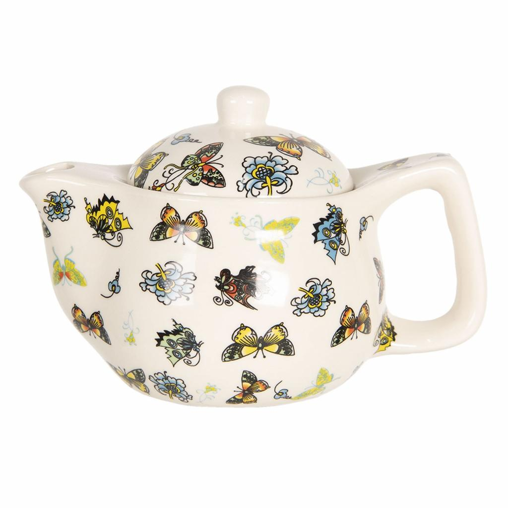 Produktové foto Clayre & Eef Konvička na čaj s barevnými motýlky - Ø 16*11 cm / 0,4L