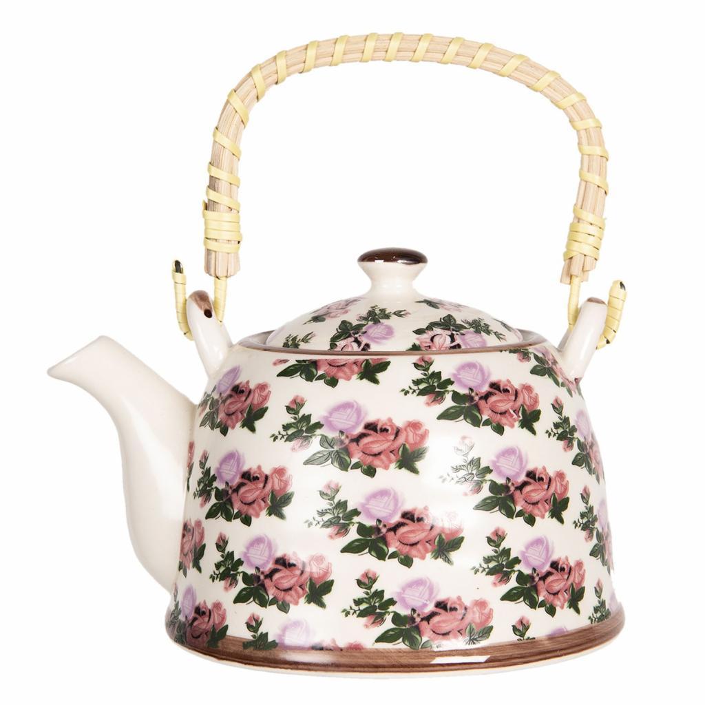 Produktové foto Clayre & Eef Porcelánová konvička na čaj s motivem růží - 17*12*10 cm / 0,6L