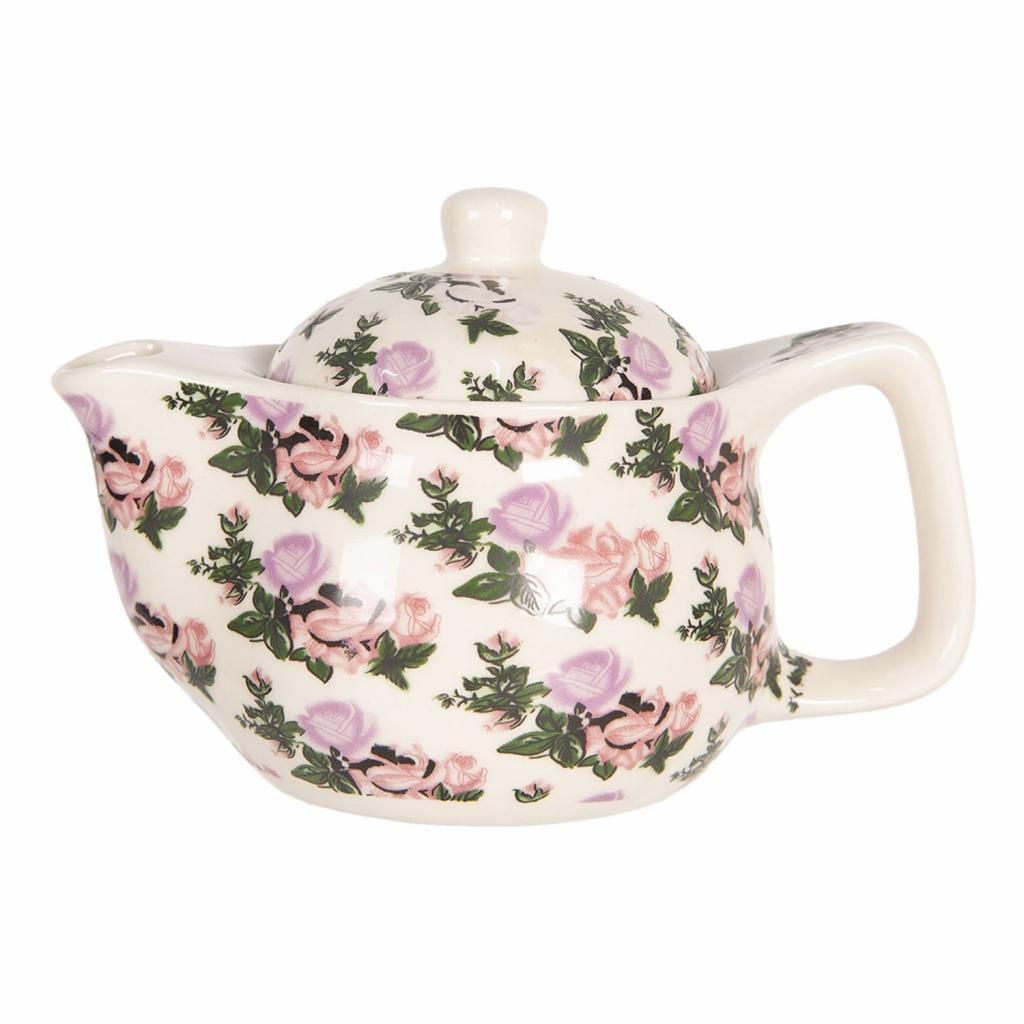 Produktové foto Clayre & Eef Konvička na čaj s motivem růží - Ø 16*11 cm / 0,4L