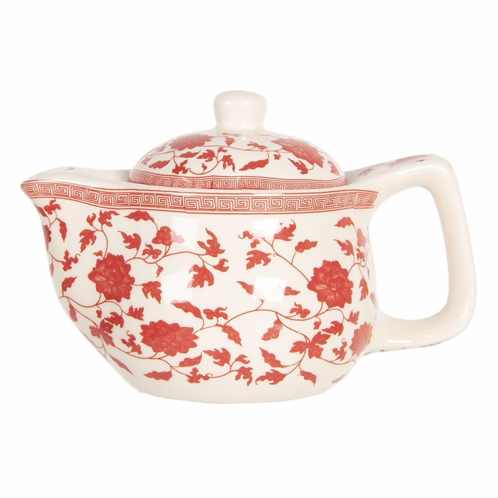 Produktové foto Clayre & Eef Konvička na čaj s červenými kvítky - Ø 16*11 cm / 0,4L