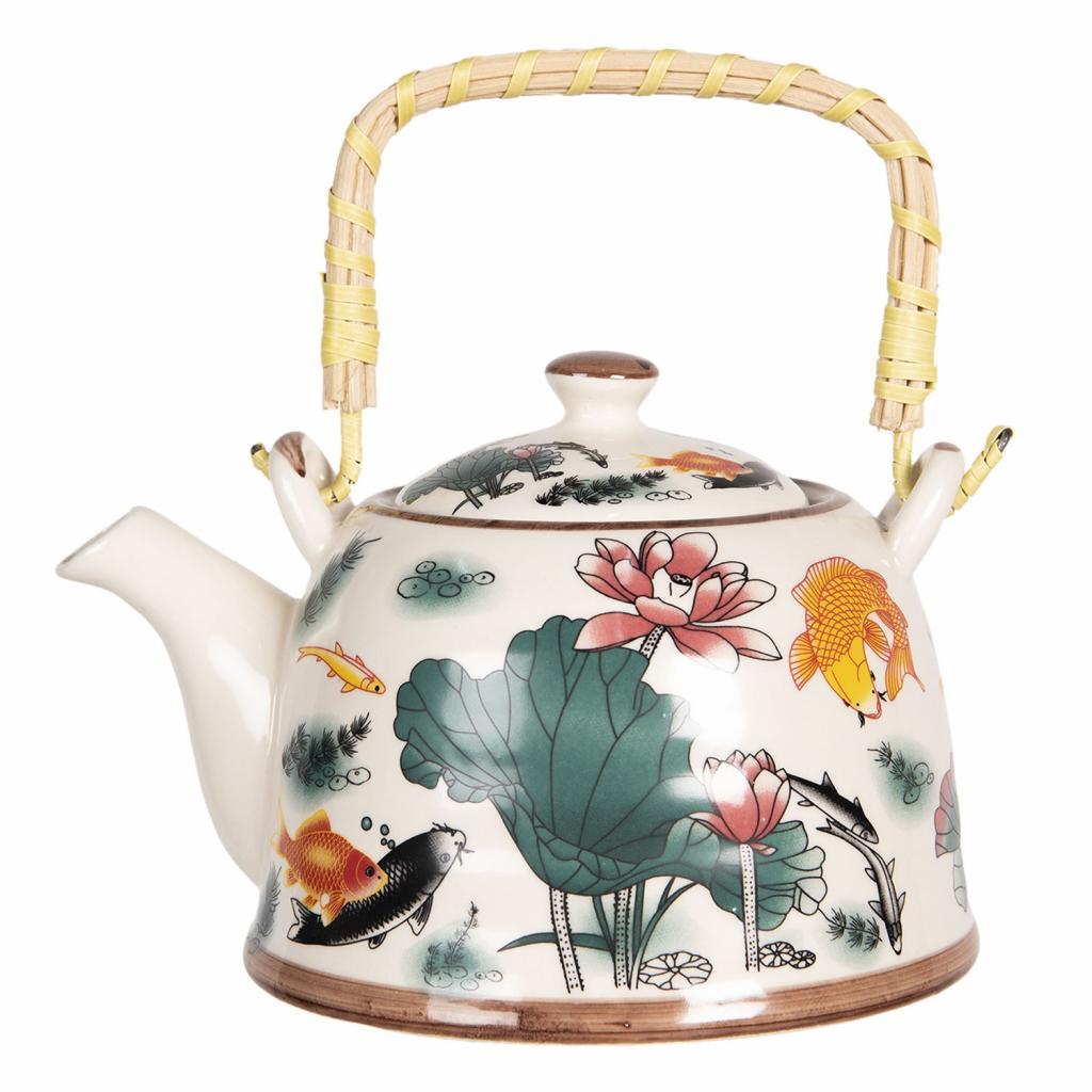 Produktové foto Clayre & Eef Konvička na čaj s květy a rybkami - 17*12*10 cm / 0,6L