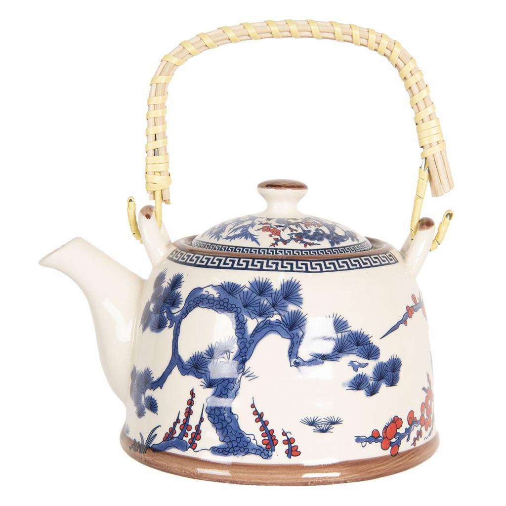 Produktové foto Clayre & Eef Porcelánová konvice na čaj s modrým stromem - 18*14*12 cm / 0,8L