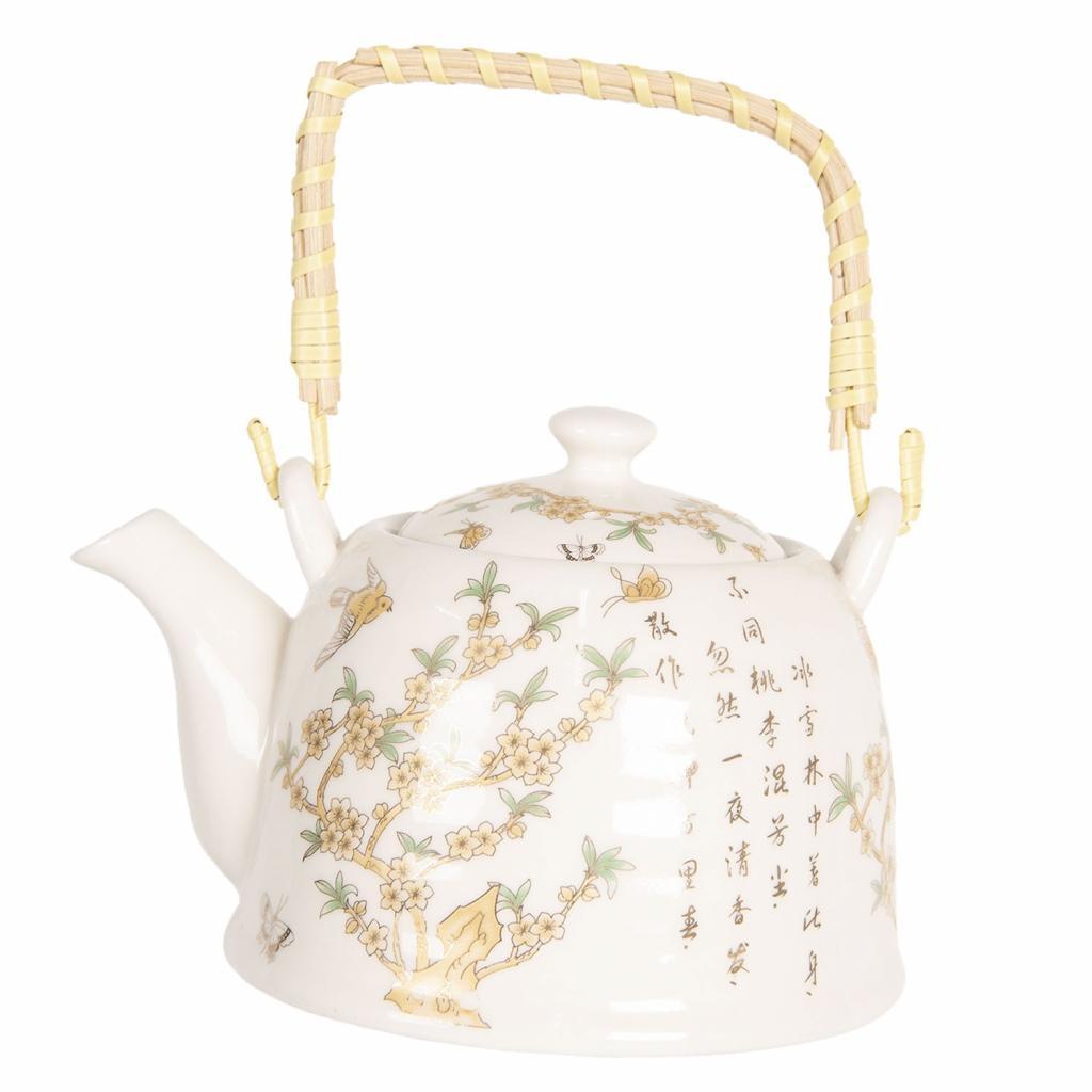 Produktové foto Clayre & Eef Konvice na čaj se sakurou a japonskými znaky - 18*14*12 cm / 0,8L