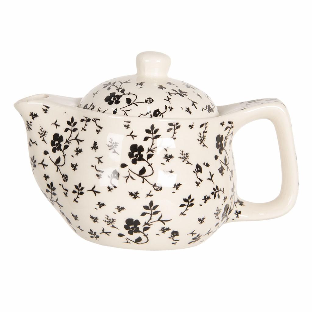 Produktové foto Clayre & Eef Konvička na čaj s drobnými černými květy - Ø 16*11 cm / 0,4L
