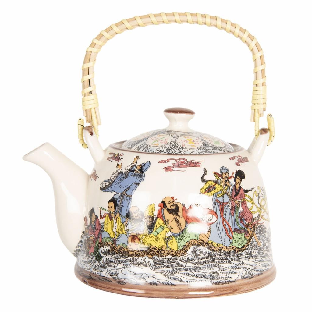 Produktové foto Clayre & Eef Konvička na čaj s japonskými motivy - 18*14*12 cm / 0,8L