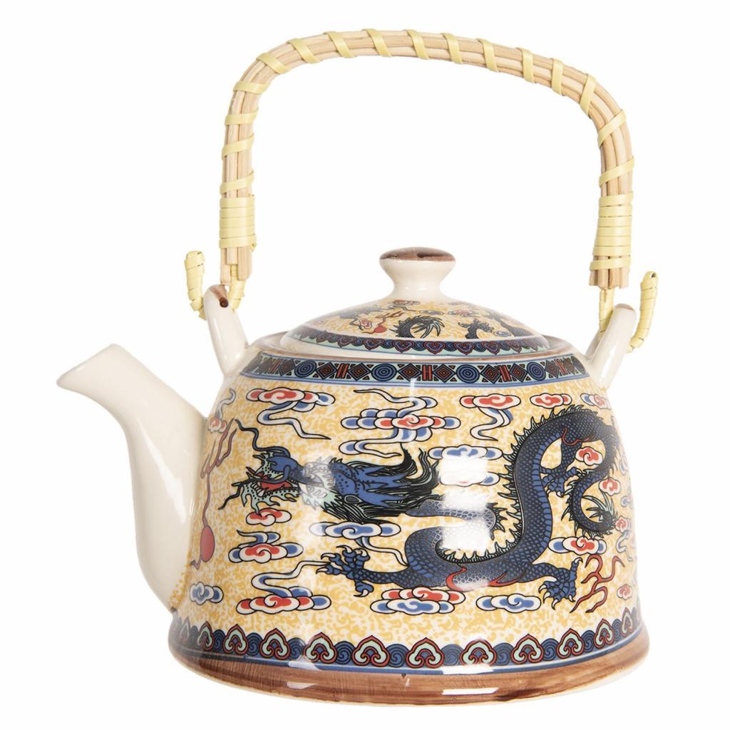 Produktové foto Clayre & Eef Porcelánová konvice na čaj s drakem - 18*14*12 cm / 0,8L