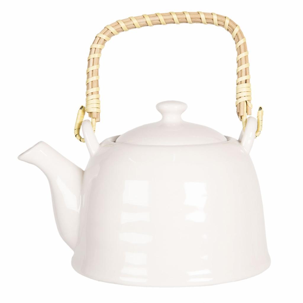 Produktové foto Clayre & Eef Bílá porcelánová konvička na čaj - 17*12*10 cm / 0,6L