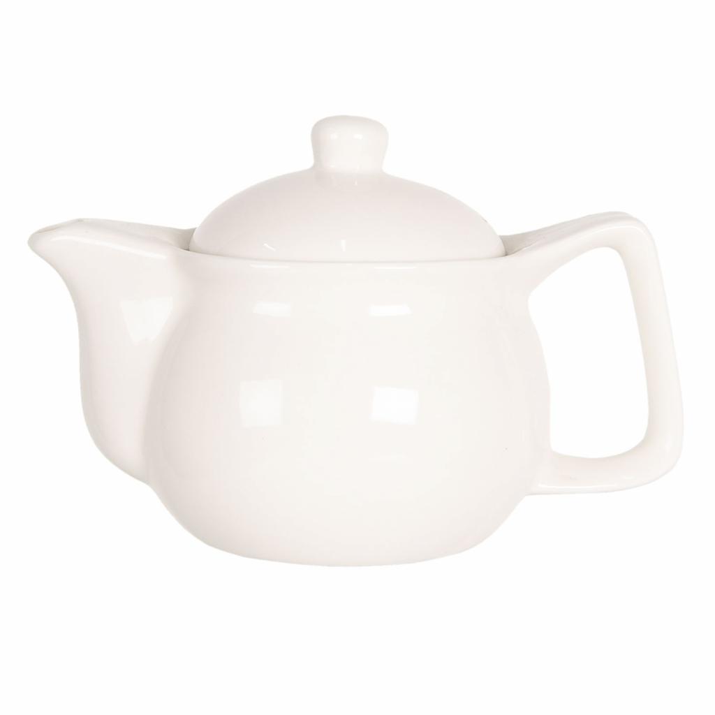 Produktové foto Clayre & Eef Porcelánová bílá konvička na čaj - Ø 16*11 cm / 0,4L