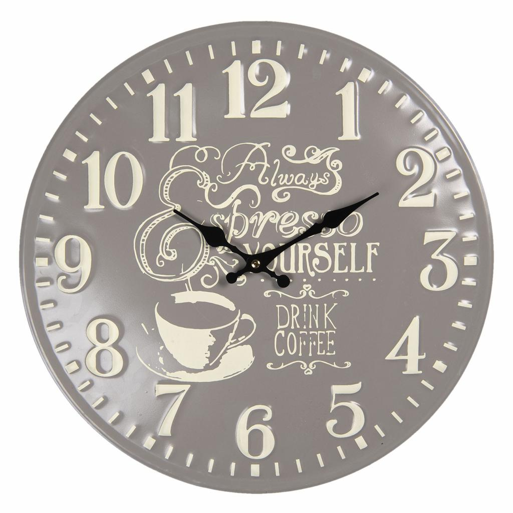 Produktové foto Clayre & Eef Kovové nástěnné hodiny Coffee – Ø 40 cm / 1*AA