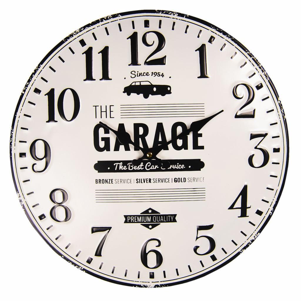 Produktové foto Clayre & Eef Nástěnné kovové hodiny The Garage – Ø 40 cm / 1*AA