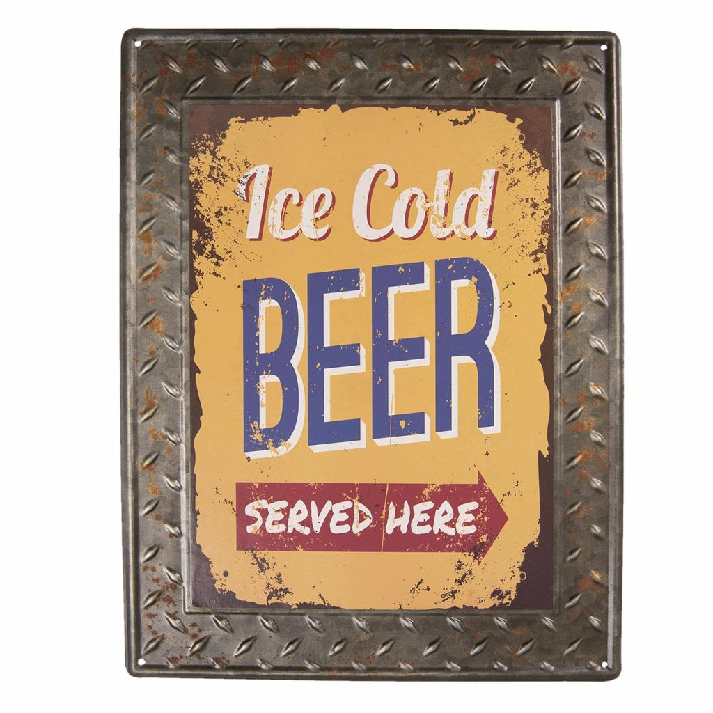Produktové foto Clayre & Eef Plechová cedule Ice Cold Beer - 30*40 cm